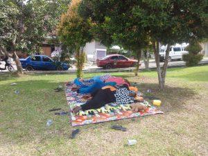 Poto: para pengungsi menghabiskan waktu seharian nya dengan tidur tiduran di bawah pohon taman DPRD Batam (dok)