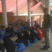 Koramil 416-04/Pulau Temiang Kodim 0416/Bute Latih Siswa Siswi Paskibraka