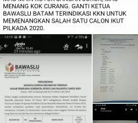 Breaking News, Netralitas BAWASLU Kota Batam Menuju Pilkada 2020 Sudah di Pertanyakan