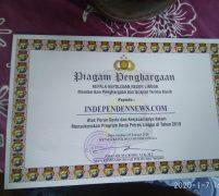 Wartawan Independennews Terima Piagam Penghargaan  Polres Lingga, Juhari Sampaikan Ucapan Terima Kasih