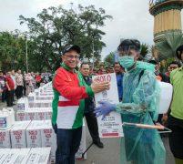 Akhyar Bersama IKAPTK Kota Medan Serahkan 151 Alat Disinfektan Kesetiap Kecamatan